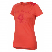 Női funkciós póló Husky Merino 100 - r. ujjú Puppy rózsaszín