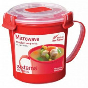 Hrnek Sistema Microwave Medium Soup Mug Red piros