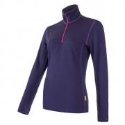 Női pulóver Sensor Merino Upper rövid cipzár lila fialová