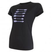 Női póló Sensor Merino Wool PT nyilak fekete černá