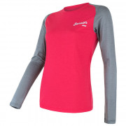 Női funkciós póló Sensor Merino Active PT Logo h. ujjú szürke/rózsaszín