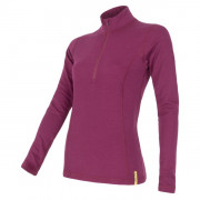 Női funkciós póló Sensor Merino DF cipzárral lila lilla