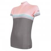 Dámský cyklistický dres Sensor Cyklo Summer Stripe szürke/rózsaszín