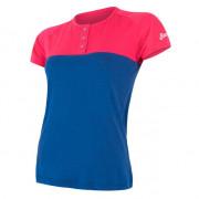 Női funkciós póló Sensor Merino Air PT gombos kék/rózsaszín magenta/modrá