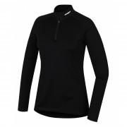 Női funkciós póló Husky Merino zip, h. ujjú fekete fekete černá