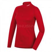 Női funkciós póló Husky Merino zip, h. ujjú piros
