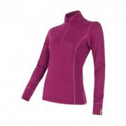 Női funkciós póló Sensor Merino Active állógallér, cipzár lila lilla