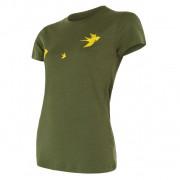 Női funkciós póló Sensor Merino Wool Swallow r. ujjú sötétzöld safari